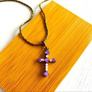 Une Ligne Swarovski Crystal Cross Pendant Necklace